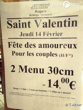 Le Subway d'Angers proposait un menu Saint-Valentin, destiné exclusivement aux couples hétéros. Un twitto révolté a photographié et posté l'affiche dans l'après-midi.