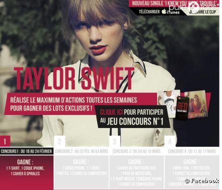Joue au jeu concours Taylor Swift et gagne peut-être des cadeaux à l'effigie de la belle.