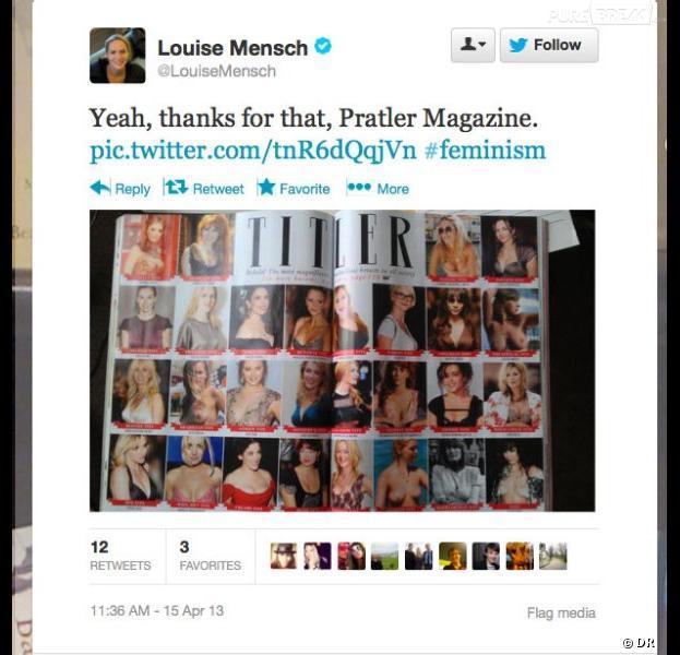 """Louise Mensch, """"poitrine de tweetos"""" au palmarès des plus belles poitrines dans le numéro de mai 2013 de Tatler"""