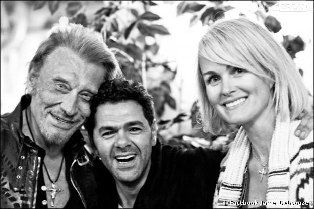 Jame Debbouze avec Johnny et Laetita Hallyday à Los Angeles le 13 avril 2013
