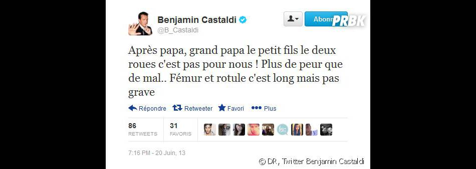 Benjamin Castaldi rassurant sur Twitter après l'accident de son fils