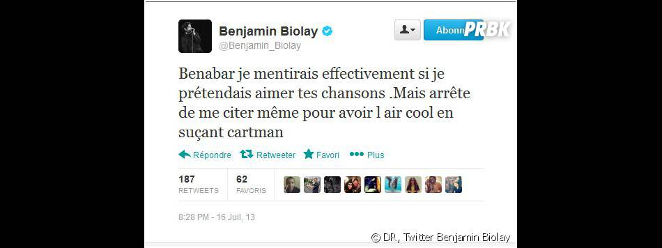 Benjamin Biolay s'en prend à Bénabar sur Twitter