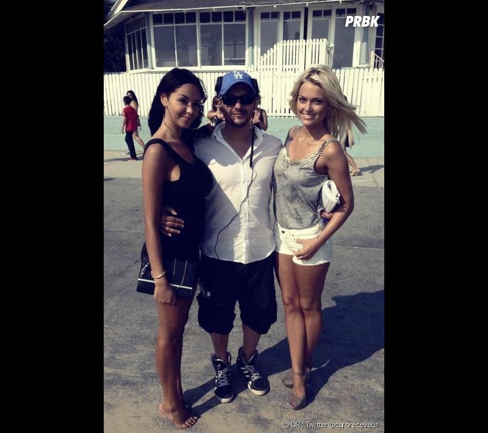 Nabilla Benattia et Caroline Receveur sur le tournage d'Hollywood Girls 3 à Los Angeles.