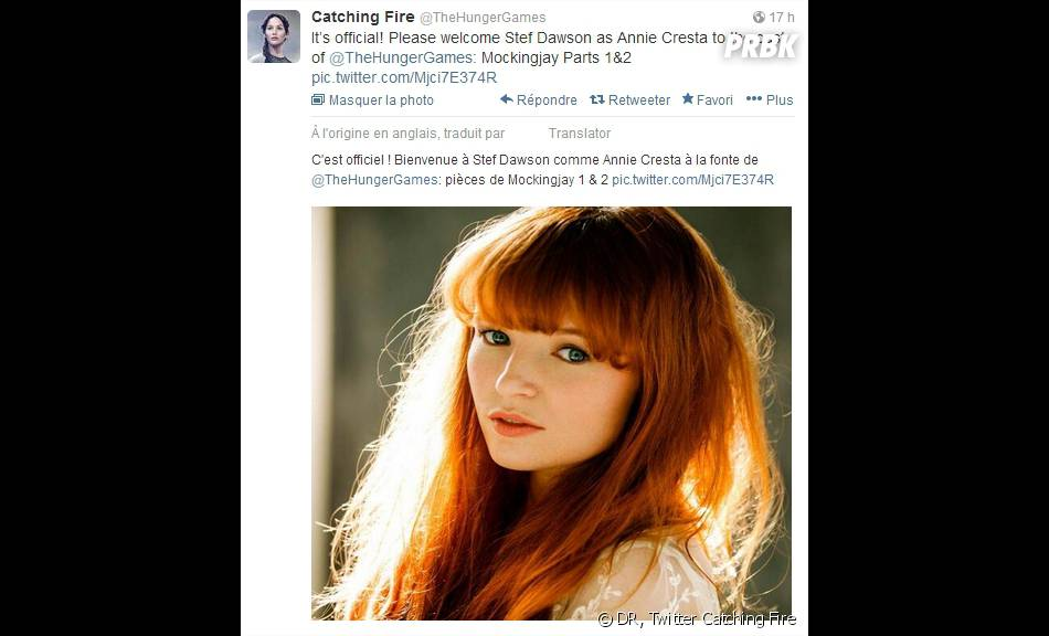 L'annonce officielle de la venue de Stef Dawson dans Hunger Games sur Twitter