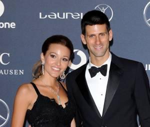 Novak Djokovic et Jelena Ristic à Londres, le 6 février 2012