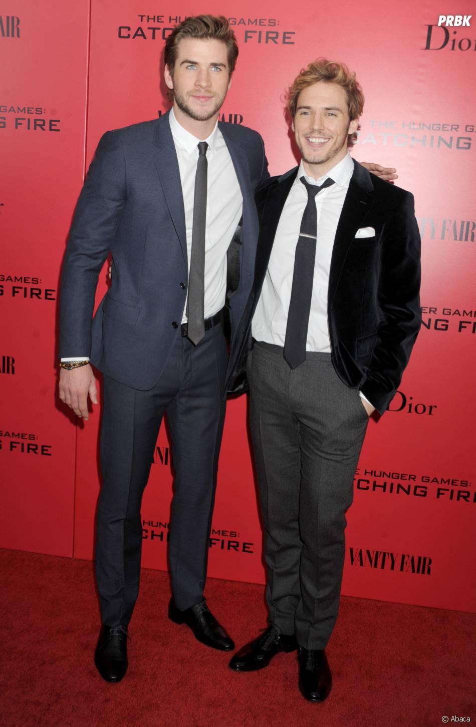 Liam Hemsworth et Sam Claflin à l'avant-première d'Hunger Games l'embrasement à New York le 20 novembre 2013
