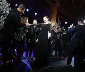M. Pokora et toute la troupe de Robin des Bois, Brahim Zaibat : visite à François Hollande et Valérie Trierweiler pour le Noël des enfants de l'Elysée, 18 décembre 2013