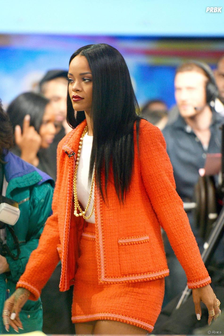 Rihanna : look sage et chic pour une émission tv, le 29 janvier 2014 à New-York