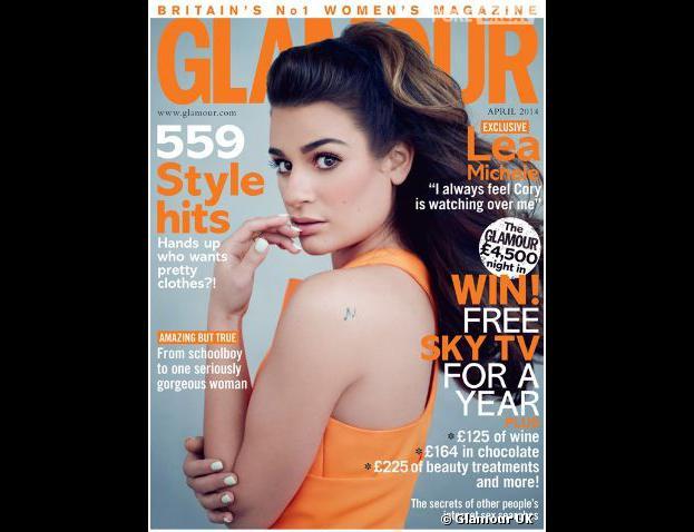 Lea Michele en Une de Glamour UK, numéro d'avril 2014