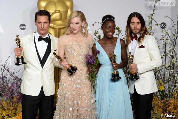 Matthew McConaughey, Cate Blanchett, Lupita Nyong'O et Jared Leto gagnants aux Oscars 2014 le 2 mars à Los Angeles