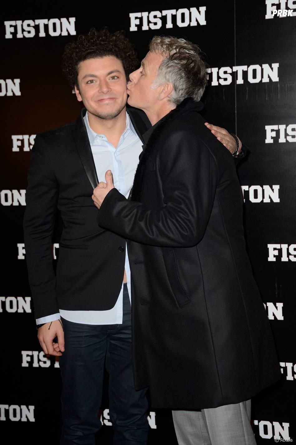 Kev Adams et Franck Dubosc, complices pour l'avant-première du film Fiston à Paris, le 10 février 2014