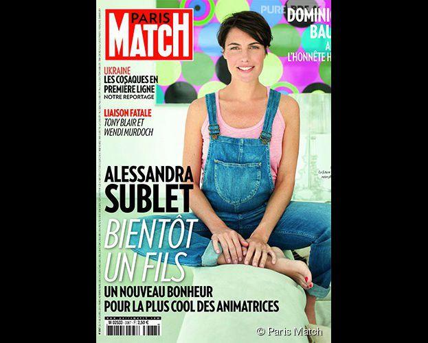 Alessandra Sublet enceinte en Une de Paris Match (avril 2014)