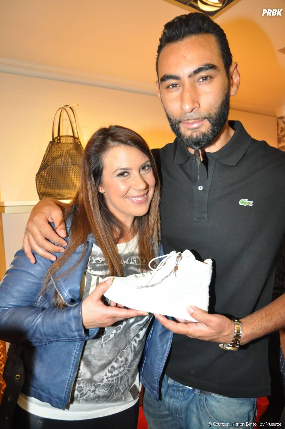 Marion Bartoli et La Fouine, complices à la soirée de lancement des sneakers Marion Bartoli by Musette, le 2 juin 2014 à Paris
