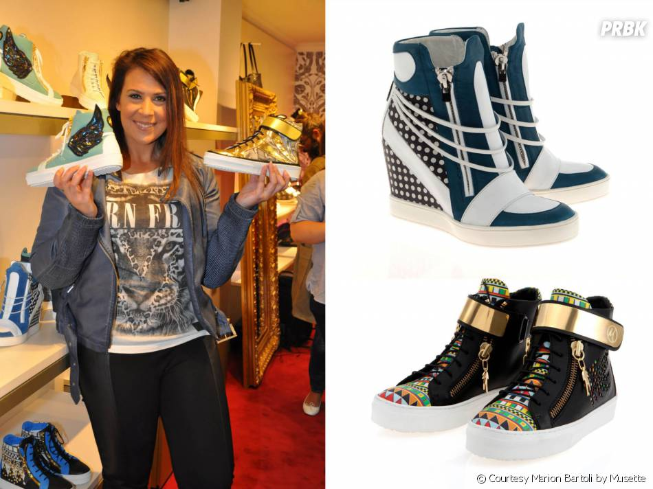 Marion Bartoli présente sa collection de sneakers Marion Bartoli by Musette, le 2 juin 2014 à Paris