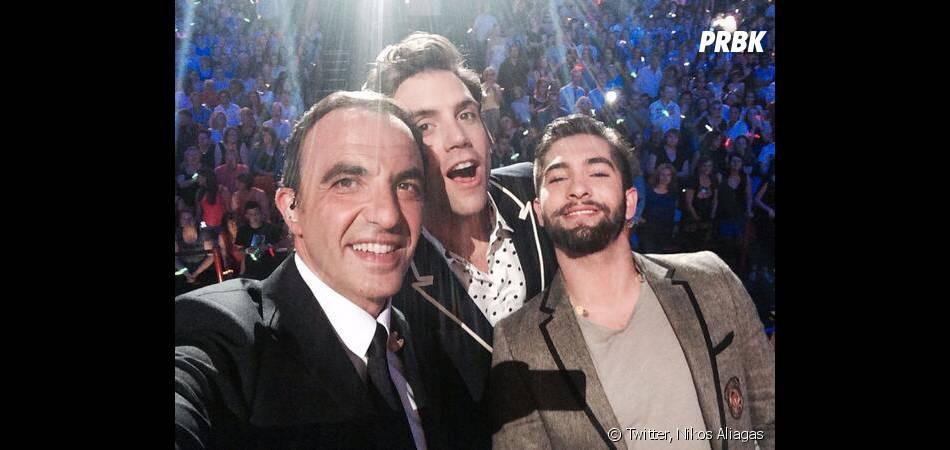 Nikos Aliagas, Mika et Kendji Girac lors de la soirée La Chanson de l'année 2014, le 14 juin sur TF1
