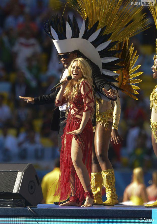 Shakira à la cérmonie de clôture de la Coupe du Monde 2014, le 13 juillet 2014, au Brésil