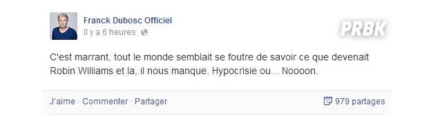 Post de Franck Dubosc sur Facebook