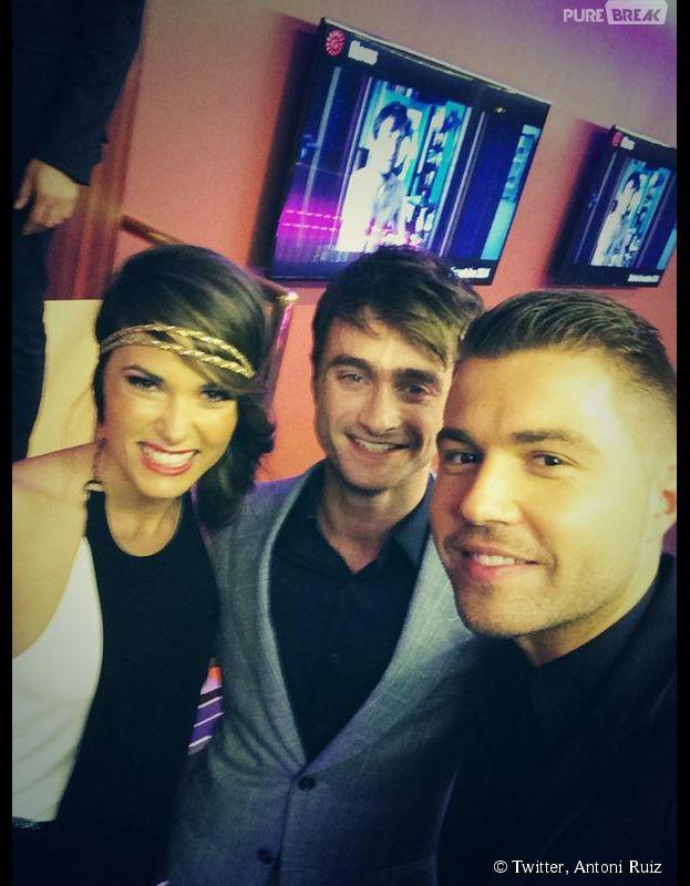 Capucine Anav : son selfie avec Daniel Radcliffe et Antoni Ruiz à l'avant-première de Horns à Paris le 16 septembre 2014