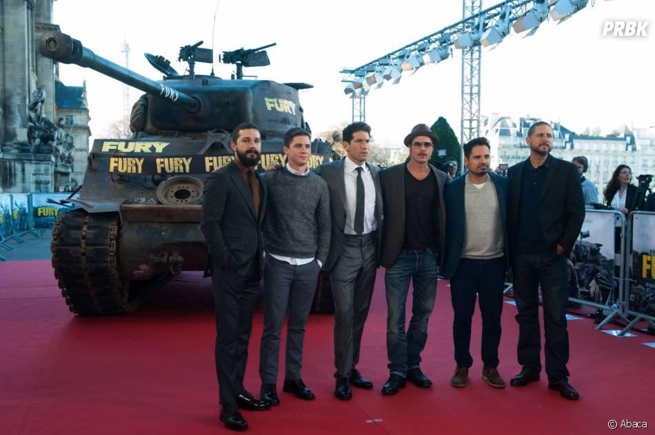 Brad Pitt à Paris avec tout le casting du film Fury, le 18 octobre 2014