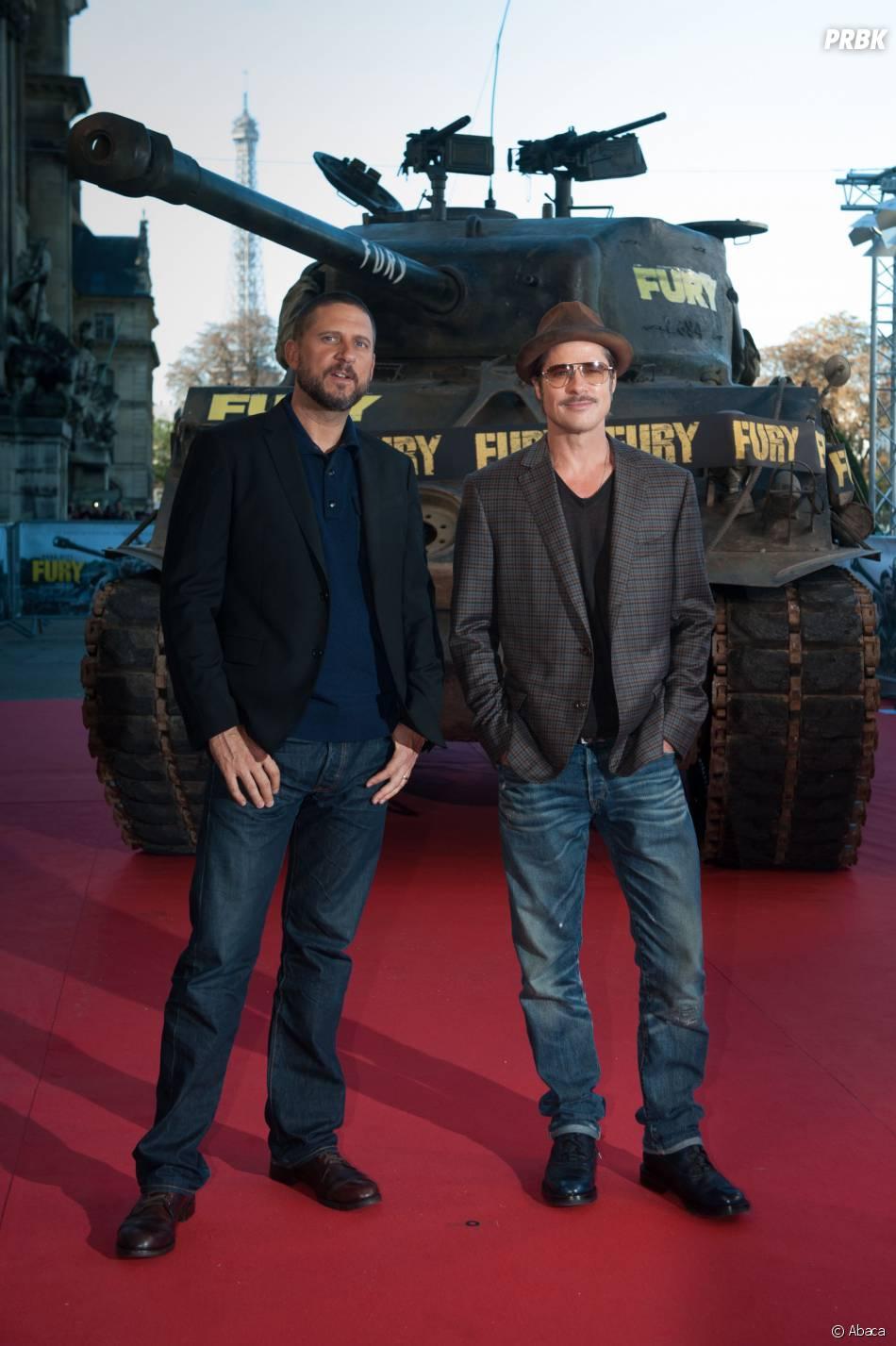 Brad Pitt et le réalisateur David Ayer à Paris pour l'avant-première du film Fury, le 18 octobre 2014
