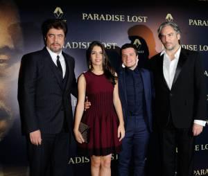 Benicio Del Toro, Claudia Traisac, Josh Hutcherson et Andrea Di Stefano présentent Paradise Lost, le 21 octobre 2014 à Paris