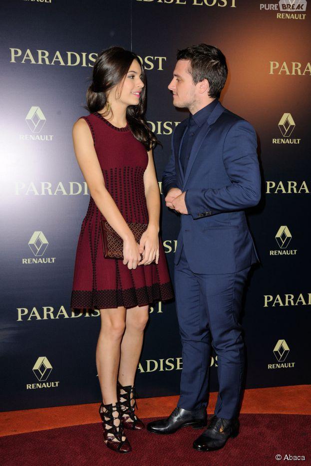 Josh Hutcherson et Claudia Traisac : regard complice à l'avant-première de Paradise Lost, le 21 octobre 2014 à Paris