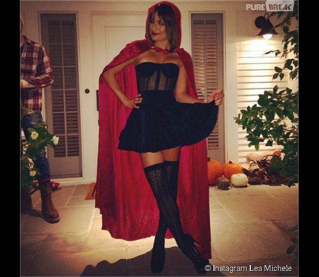 Lea Michele : petit Chaperon rouge sexy pour Halloween 2014