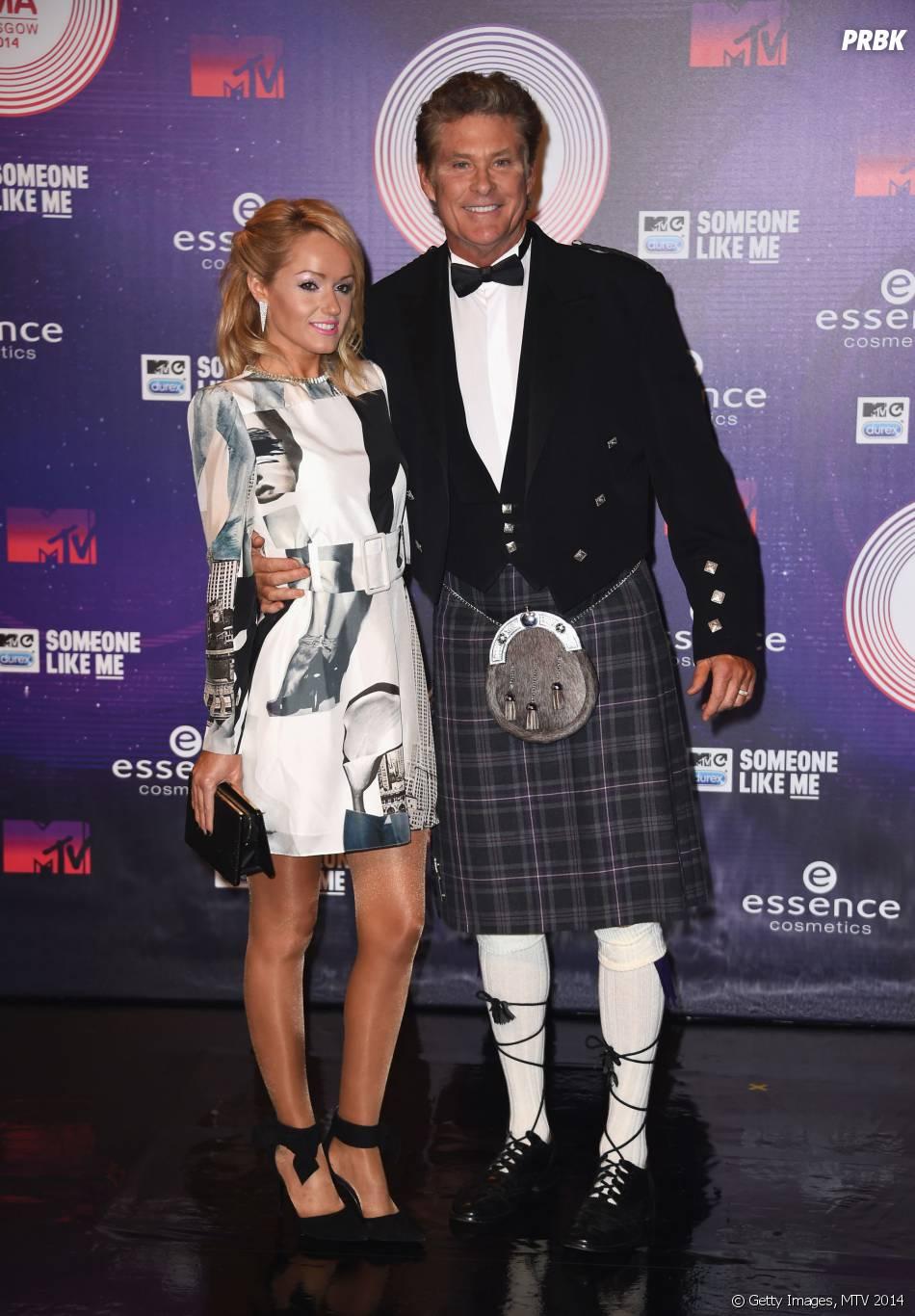 David Hasselhoff et sa femme à la cérémonie des MTV EMA 2014, le 9 novembre 2014 à Glasgow