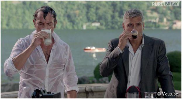 Jean dujardin et george clooney dans une pub pour nespresso - Jean dujardin et george clooney ...