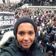 Karine Le Marchand lors de la marche républicaine organisée à Paris et dans toute la France le 11 janvier 2015, après l'attentat meurtrier de Charlie Hebdo