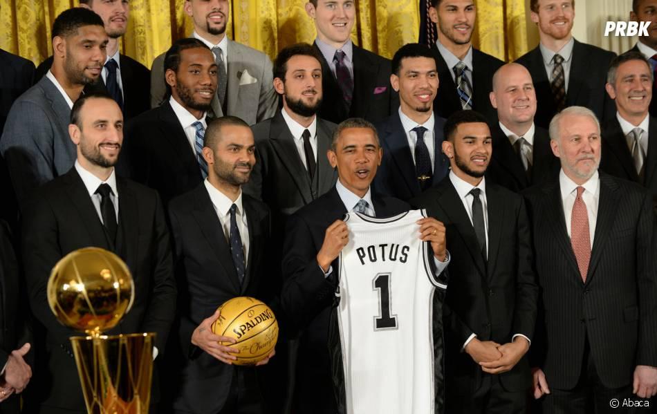 Les San Antonio Spurs honorés par Barack Obama, le 12 janvier 2015 à la Maison Blanche (Etats-Unis)