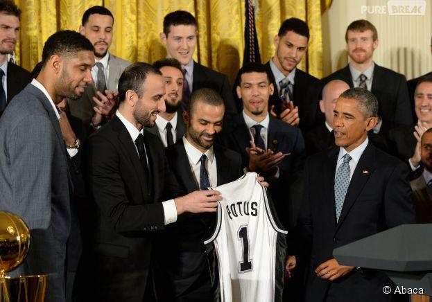 Tony Parker et les Spurs honorés par Barack Obama, le 12 janvier 2015 à la Maison Blanche (Etats-Unis)