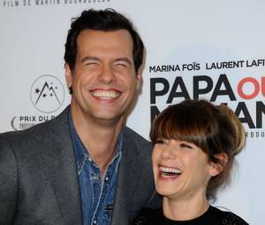 Marina Foïs et Laurent Lafitte s'amusent à l'avant-première de Papa ou Maman, le 26 janvier 2015 à Paris