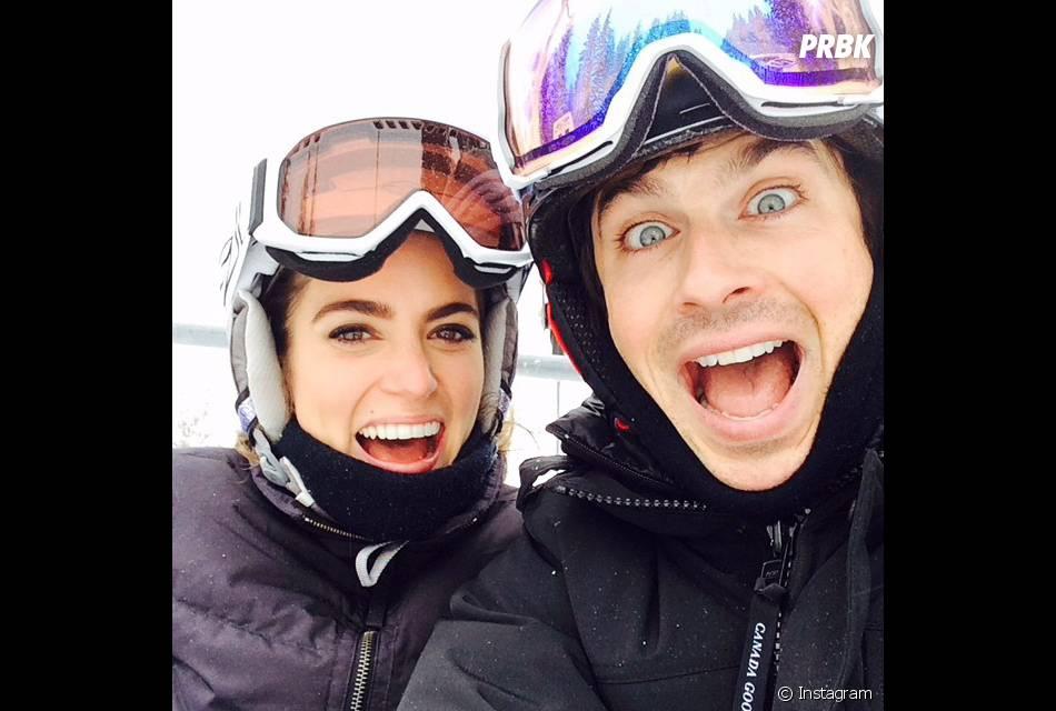 Nikki Reed et Ian Somerhalder durant leurs vacances au ski, le 26 décembre 2014