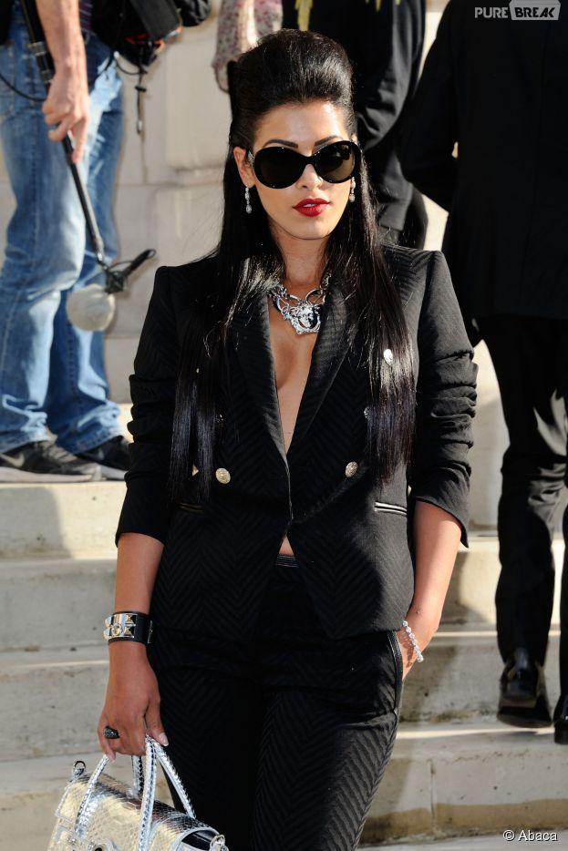 Ayem Nour à son arrivée au défilé Versace pour la Fashion Week, le 6 juillet 2014 à Paris