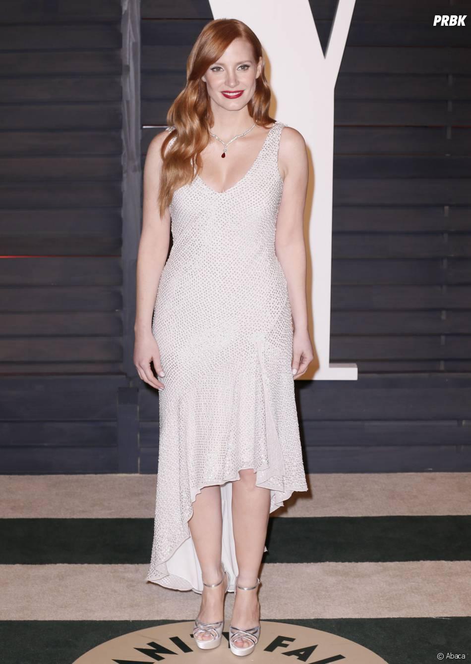 Jessica Chastain en H&M à l'after party des Oscars 2015 organisée par Vanity Fair le 22 février