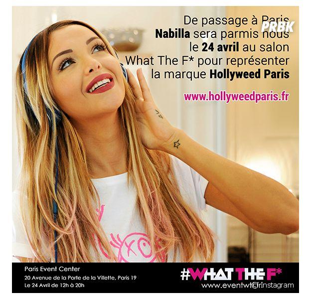 Nabilla Benattia attendue au salon What The F* le 24 avril 2015 à Paris
