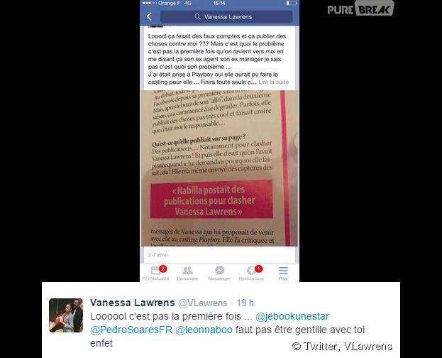 Vanessa Lawrens a taclé Nabilla Benattia sur Twitter, le 25 avril 2015