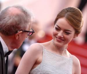 Emma Stone et Woody Allen sur le tapis rouge, le 15 mai 2015 au festival de Cannes