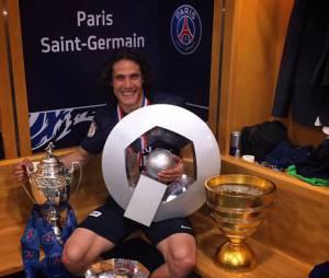 Edinson Cavani célèbrent leur victoire en Coupe de France et leur quadruplé dans les vestiaires du Stade de France, le 30 mai 2015