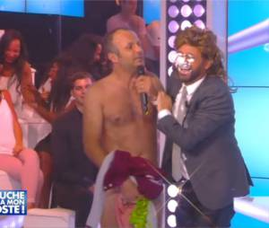 Pierre François Martin LAval (Pef) totalement nu avec Cyril Hanouna dans TPMP, le 29 juin 2015