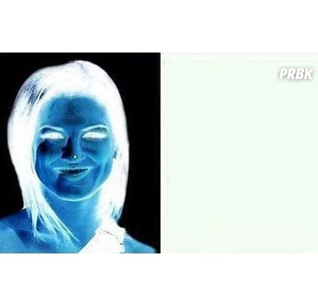 Illusion d'optique : fixez le point sur le visage de l'image de gauche pendant 15 secondes, puis regardez l'image blanche à droite