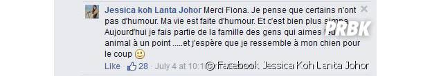 Jessica (Koh Lanta Johor) s'explique sur Facebook
