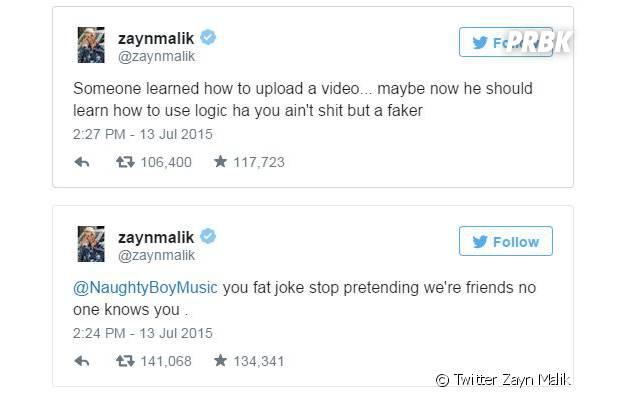 Zayn clashe Naughty Boy sur Twitter, le 13 juillet 2015