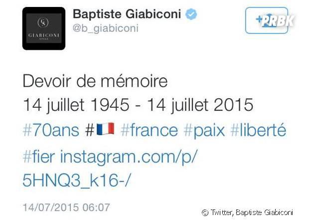 Baptiste Giabiconi : son tweet honteux