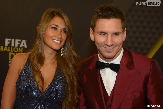 Lionel Messi et Antonella Roccuzzoà la cérémonie du Ballon d'or 2013, le 13 janvier 2014 à Zurich