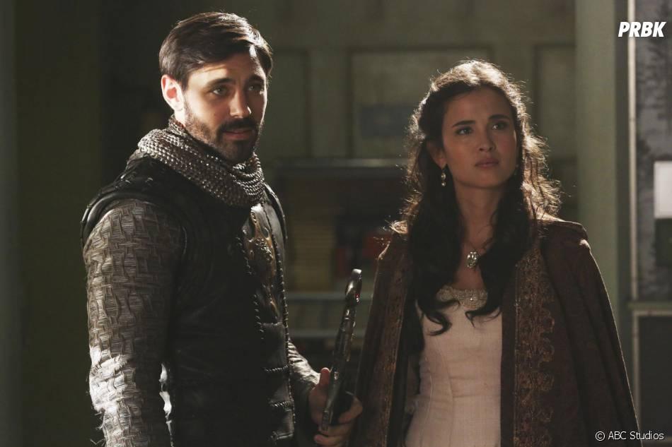 Once Upon a Time saison 5, épisode 4 : Liam Garrigan (Arthur) et Joana Metrass (Guenièvre) sur une photo