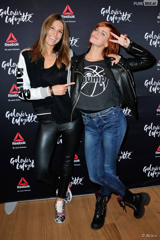 Laury Thilleman et Fauve Hautot à la soirée d'inauguration de l'espace fashion sport de Reebok aux Galeries Lafayette, le 22 octobre 2015