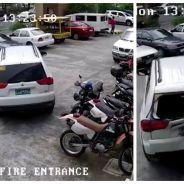 Il bousille 3 motos et 2 voitures en essayant de se garer... et n'y arrive même pas !