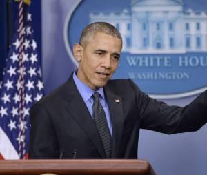 Barack Obama lors de la conférence de presse de fin d'année de la Maison Blanche, le 18 décembre 2015